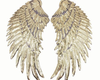 34cm Flügel Pailletten gold Bügelbild wings Applikation hot fix Bügelbilder Applikationen Engelsflügel Engel Teufel Sequins Patch golden