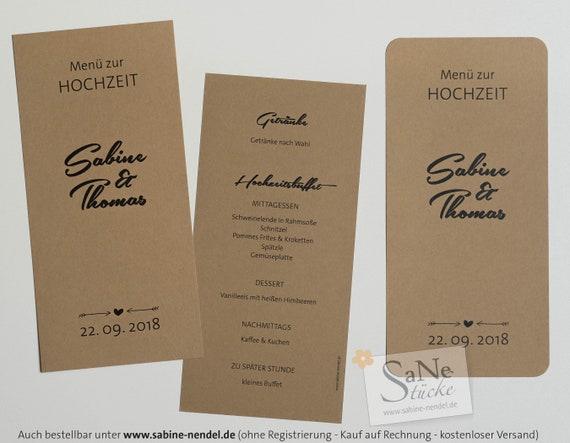 Ab 137 Eur Stuck Menukarte Hochzeit Natur Tischdeko Etsy