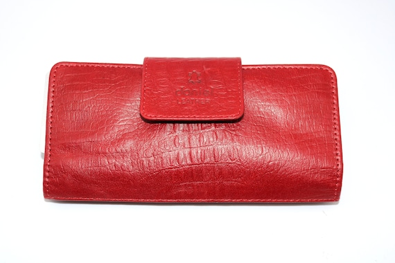 Womens Clutch Leather Purse RED Multi Cards Cash ID Zip Around Big Wallet BOXED