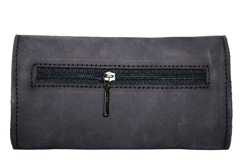 Real Black Leather Rolling tobacco pouch to carry upto 50grams with pocket and rolling paper slot