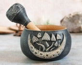 Mortar and pestle witch - Mushroom moon