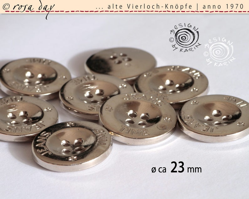 Silver Color Vierloch 6 Old plastic buttons Anno 1970 NR 1526
