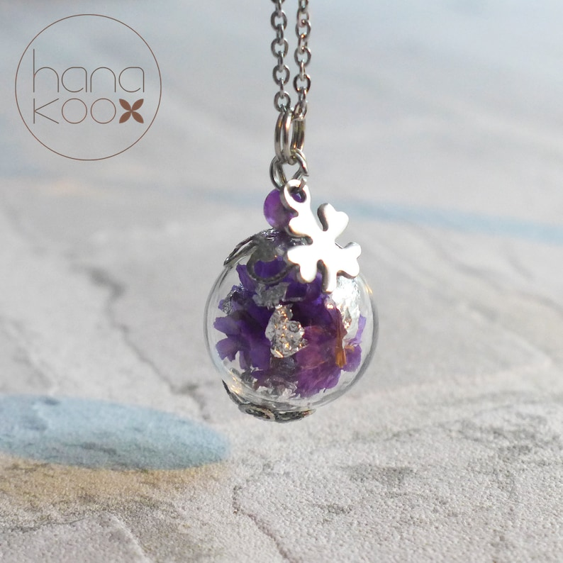 Real Purple flower glass ball necklace-stainless Steel
