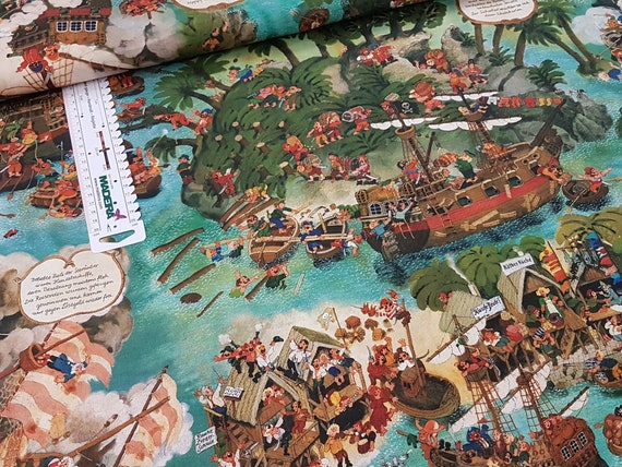 Cotton Hidden Object Ali Mitgutsch Pirate | Etsy