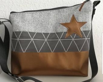 Bag shoulder bag star grey gold