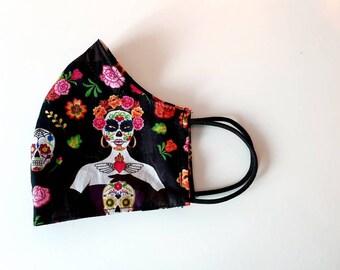 Face mask, mouth-nose mask, makeshift mouthguard black colorful