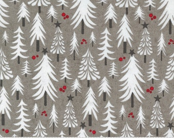 """Patchwork fabric Christmas by Moda Hustle and Bustle """"BasicGrey"""" Trees for sewing, quilting"""