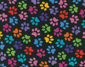 Patchwork cotton fabric Colorful paws by Timeless Treasures for sewing and quilting
