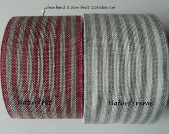 6EUR/meter Striped linen ribbon for embroidering or decoration 5.5 cm wide embroidery linen gift WeGeQuilts