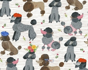 """Patchwork Fabric Poodle Windham """"Somebody To"""" Cotton Fabric Patchwork Sewing Quilts Animals Dogs"""