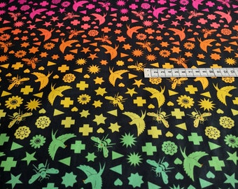 """Patchwork fabric by Alison Glass """"Birds & Bees"""" in black with rainbow colors for patchwork, sew, quilting cotton"""
