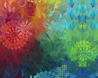 """Patchwork fabric from the pizzazz series by Sue Penn """"Paradise"""" for sewing, quilting"""