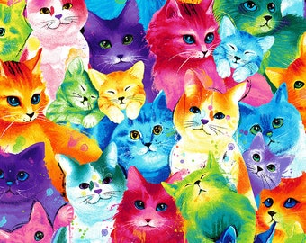 Patchwork cotton fabric colorful cats by Timeless Treasures for sewing and quilting