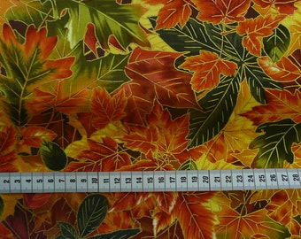 Patchwork fabric leaves with some gold pure cotton patchwork sewing quilting