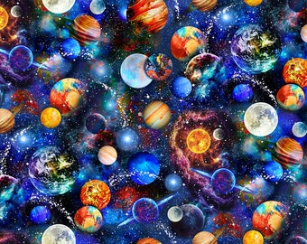 Patchwork fabric cotton fabric space motif in colorful by Timeless Treasures for sewing and quilting