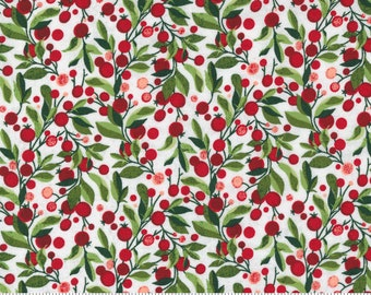 """Patchwork fabric Christmas by Moda Hustle and Bustle """"BasicGrey"""" red berries for sewing, quilting"""