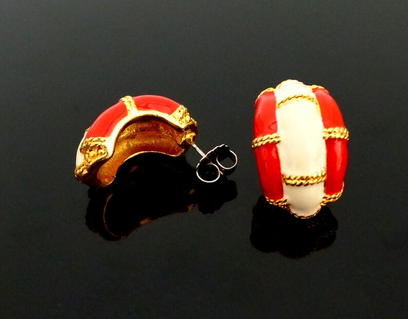 Life Ring nautical navy style gold plated earrings-vintage 80s Lifesaver red white enameled pierced earrings 1980 /'s Noble!