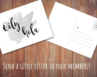 Oily Hola Postcard - Young Living Essential Oil Postcard Black and White