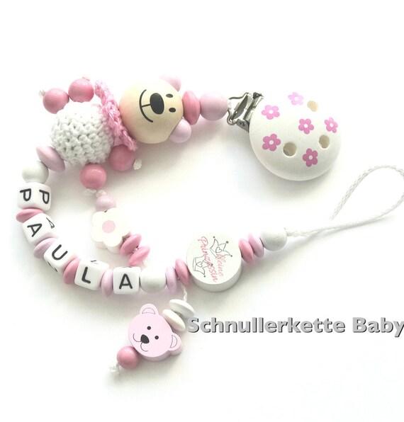 ★Schnullerkette mit Namen★Baby Geschenk Geburt★Herz★ Mädchen★Kleine Prinzessin★