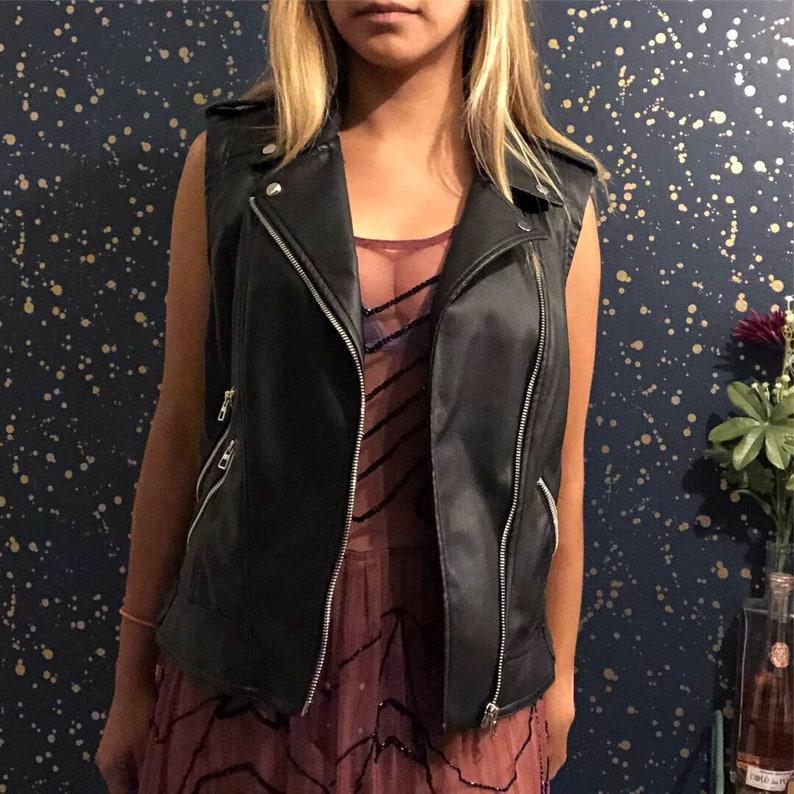 6b8ad2087 Zara trafaluc black leather vest
