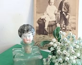 Porcelain Miniature Doll Head Antique on Old Inkwell Gorgeous Decoration Brocante Collect and Rare Gift for Women
