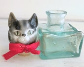 Porcelain Miniature Cats Doll Head Antique on Old Inkwell Gorgeous Decoration Brocante Collect and Rare Gift for Women