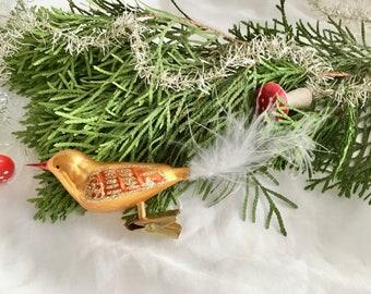 1x Christbaumschmuck Vogel silber weiß Glasvogel Weihnachten Baumschmuck