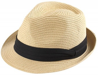 6d013f6642c Fedora Style Kids Hat 100% Paper Straw Material Grosgrain Hatband