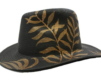 0d6648cc Golden Feathers 100% Hand Woven Paper Straw Classic Fedora Panama Style Sun Hat  Unisex Adult Size