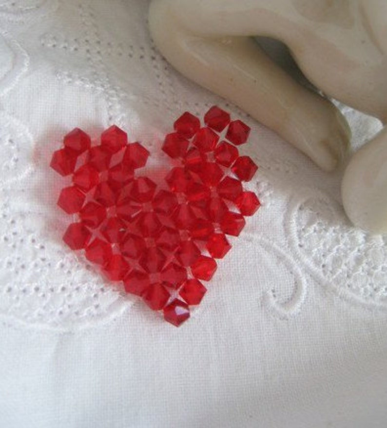 pearl heart A red sparkle heart for sewing heart