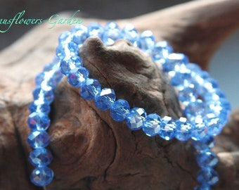 40 blaue Glasperlen Rondelle 2,8x8mm Perlen blau matt Spacer Beads 1063