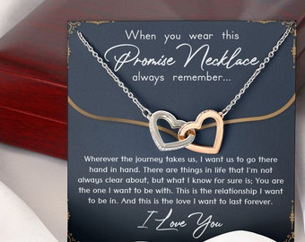 Promise Necklace for Girlfriend Valentine/'s Day Necklace Gift With Message Card For Girlfriend From Boyfriend Gift for Her
