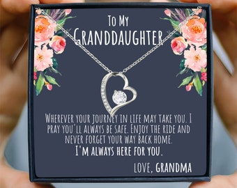 Granddaughter Jewelry, Love You To The Moon Necklace, .925 Sterling Silver with 18k Gold Heart, Granddaughter Gifts From Grandma and Grandpa