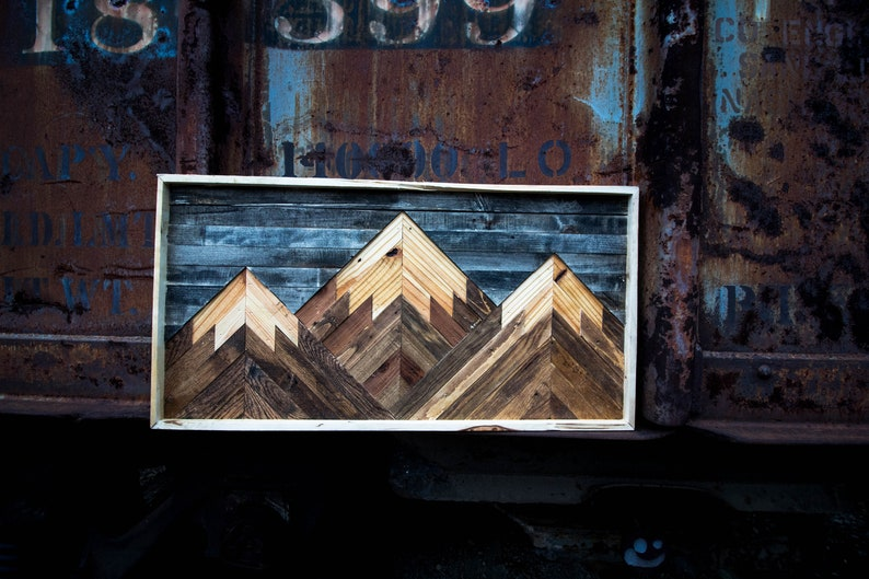 Mountain Wood Wall Art Mountain Range Three Mountains Made From Reclaimed Wood And Made To Order Customize Colors In Note