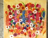 Acrylic paintings on canvas, paintings, painters, unique picture, birthday gift, summer flowers, summer mood,