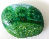 Pebble Hand Painted, Unique Stone - Seven TableForest Bavaria, Meditation Stone for the Soul, Modern Living Decoration Design, Lucky Brunger