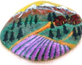Easter decoration, pebble painted, lucky charm, paperweight, painted stone, lavender field, mountains, alpine stone