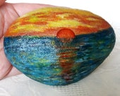 Lucky Charm Stone, Pebble Hand Painted, Gift Stone, Sunset, Lake Silence, Decoration Modern Design Vintage Stone