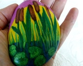 Lucky Charm, Pebble Hand Painted- Silence Pond-Schilf-Soul Lily Stone, Modern Design, Vintage Deco Stone