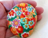Lucky Charm Stone,Easter Egg, Pebble, HandPainted Stone, Lucky Charm, Mandala Stone, Flowers Stone, Residential Decoration