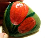 Lucky Charm Stone, Gift Stone, Hand Painted Stone, Flowers Stone, Tulips Stone, Residential Decoration Modern Design Stone