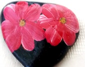 Lucky Charm Stone, Pebble, Hand Painted Stone, Flowers Stone, Gift Stone, Living Modern Vintage Design Decoration Stone