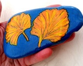 Lucky Charm Stone, Pebble Painted, Gingo Stone, Flowers Stone, Vintage Deco Modern Design Stone, Nature Unique Stone