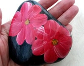 Easter decoration, pebble, handpainted stone, lucky charm, flowers stone, gift stone, Easter gift, home decoration