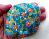 Easter decoration, pebble, hand painted stone, lucky charm, paperweight, spring nature stone, floral stone