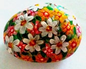 Easter Egg Decoration, Pebble, Handpainted Stone, Lucky Charm, Flowers Stone