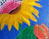 Easter decoration, painting, painting picture, acrylic painting, nature picture, unique picture, floral picture, butterfly picture, gift picture