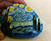 Easter decoration, pebble, handpainted stone, lucky charm, gift stone, unique, motifs by Van Gogh, home decoration