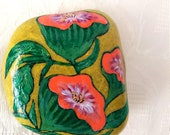 "Easter decoration, pebble painted,handpainted stone ""flowers fantasy"", gift for happiness ,painted stone, lucky charm"