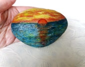 Easter decoration, pebble painted, gift stone, handpainted stone, lucky charm, sea sunset, sea silence